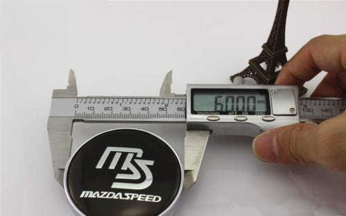 4X MS MAZDASPEED Wheel Center Hub Caps Black Fit Mazda 2 3 6 RX8 Miata MX5 60MM