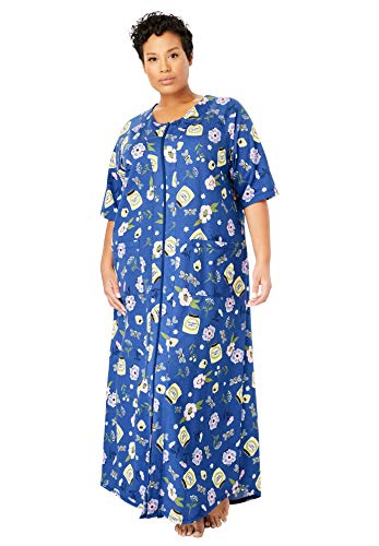 Dreams & Co. Women's Plus Size Long French Terry Zip-Front Robe - True Blue Garden, 3X (French Robes Terry)