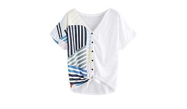 AiBarle - Camiseta de Manga Corta para Mujer, diseño de Rayas ...