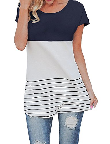 ps Color Block Short Sleeve T-shirt Tunics Blouse (US 8, Navy blue) (Bailey Tunic)