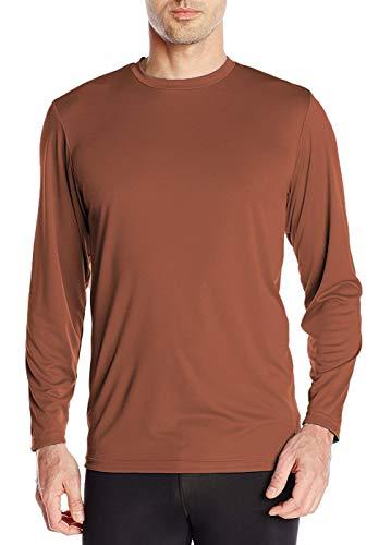 Men's UPF 50+ UV/Sun Protection Casual Long Sleeve T-Shirt (Rust (Orange), X-Large)