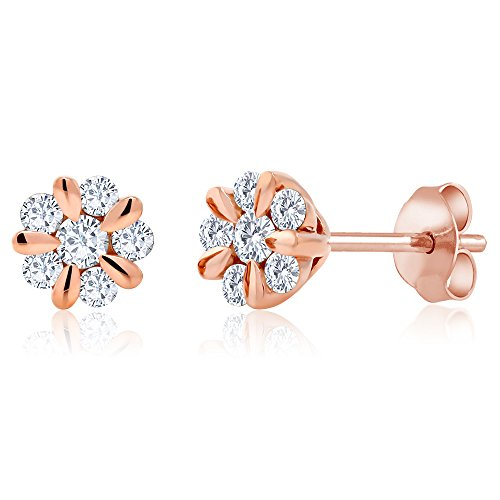 Gem Stone King Solid 10K Rose Gold 0.312 Cttw White Diamond Flower Blossom Stud Earrings