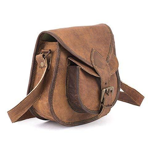 (Teakwood Leather Handmade Vintage Genuine Cross Body Bag Purse Satchel)