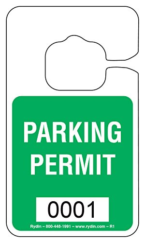 Parking Permit Hang Tag - R-1 - Stock Hang Tag (Light Green)