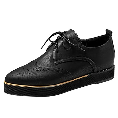 Women's Platform Lace-Up Shoes Wingtips Square Toe Oxfords Flat Driving Loafers Soft Leather Brogues with Comforty Insole (US:7(39), Black) (Boots Square Red Toe Wing)