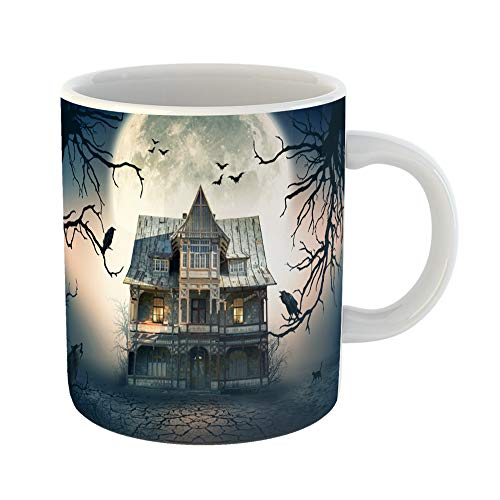 Emvency Coffee Tea Mug Gift 11 Ounces Funny Ceramic Blue Movie Haunted House Full Moon in the Scene Halloween Gifts For Family Friends Coworkers Boss Mug ()