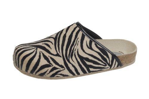 Weeger Unisex Adults' 48013 Open Back Slippers Beige (Zebra Zebra) mWo1n