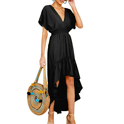 Joteisy Women's V Neck Short Sleeves Tie Back Ruffled High Low Hem Maxi Dress (S, Black)