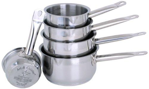 Art & Cuisine – série de 5 casseroles – tous et induction – inox massif – bec verseur et graduation