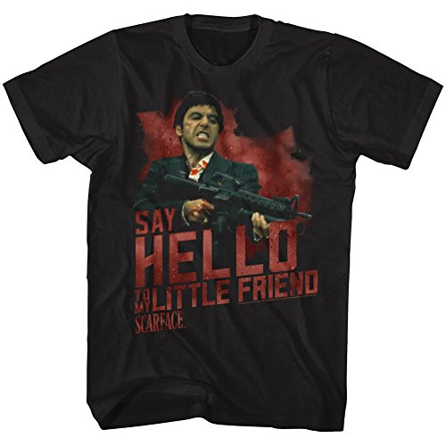 (American Classics Scarface SAY Hello Small Cotton T-Shirt Black Adult Men's Unisex Short Sleeve T-Shirt)