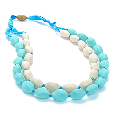 Chewbeads Astor Teething Necklace, 100% Safe Silicone - Turquoise: Baby