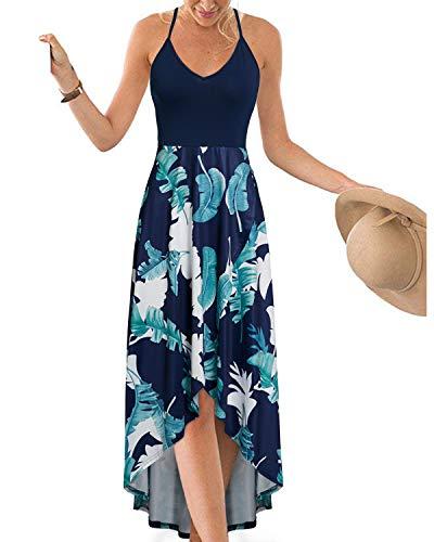 KILIG Womens V Neck Sleeveless Asymmetrical Patchwork Floral Maxi Dresses ()