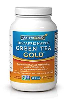#1 Green Tea Extract - Green Tea GOLD, 500 mg, 120 Vegetarian Capsules - Decaffeinated Green Tea Fat Burner Supplement for Weight-loss (98% Polyphenols, 50% EGCG) from Nutrigold