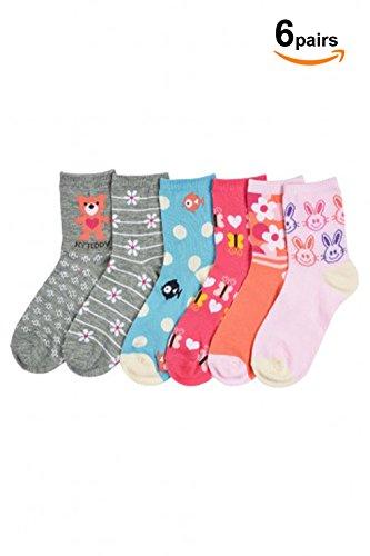 Basico Girls Kid's 6 Pack School Uniform Crew Socks (Large (6-8), Zoo- 6pk)