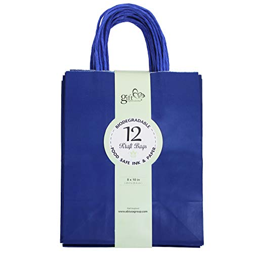 (36CT Solid Color Kraft Paper Gift Bags Bulk with Handles [ Ideal for Shopping, Packaging, Retail, Party, Craft, Gifts, Wedding, Recycled, Business, Goody and Merchandise Bag] (Royal Blue, 36CT Medium))
