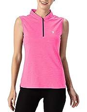 Rdruko Women's Sleeveless Golf Polo Shirts Zip Up Dry Fit Athletic Tank Tops UPF 50+