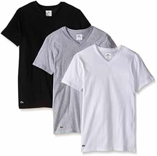 bba24b915d5a Lacoste Men s 3-Pack Essentials Cotton V-Neck T-Shirt