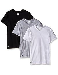 Lacoste Men's Essentials 3-Pack Cotton V-Neck T-Shirt, Black/Gray/White, Medium