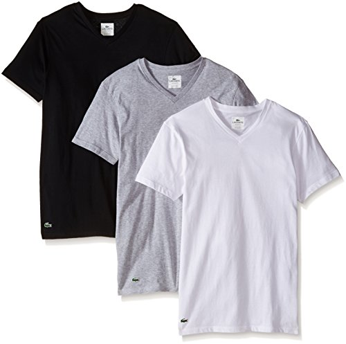 (Lacoste Men's 3-Pack Essentials Cotton V-Neck T-Shirt, Black, Grey, White Medium)