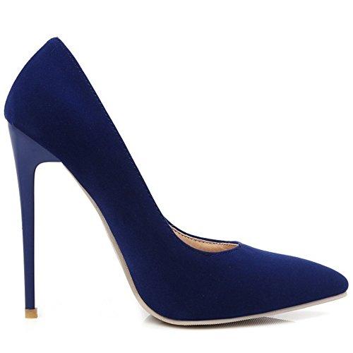 Hauts Bout Soiree TAOFFEN Su Aiguille Talons Mode Escarpins Mariage Bleu Chaussures Pointue Femmes wqCgYqp
