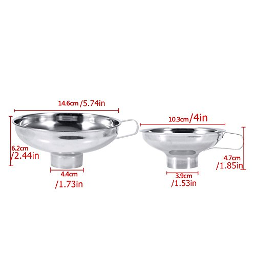MAXGOODS 2 Pack Stainless Steel Canning Funnel,Wide Mouth Kitchen Cooking Tools Gadgets Funnel with Handle for Jam,Regular Jars,Liquid,Fluid,S&L-Silver by maxgoods (Image #1)