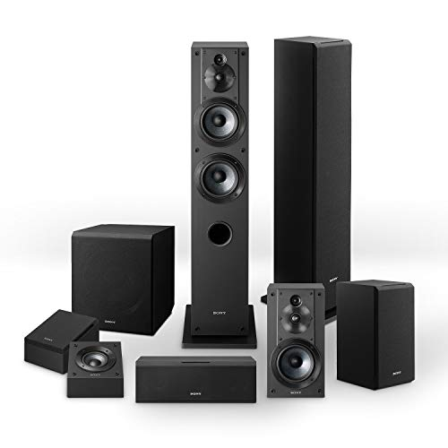 Sony CS-Series speakers bundle:  SSCS3 Floor-Standing Speaker (2), SSCSE Dolby Atmos Enabled Speakers, SACS9 Subwoofer, SSCS8 Center Channel Speaker, and SSCS5 Bookshelf Speaker System