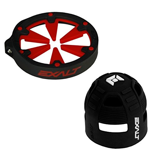 Exalt Paintball Universal FeedGate V3 Loader Lid - Red + Exalt Tank Grip by Exalt