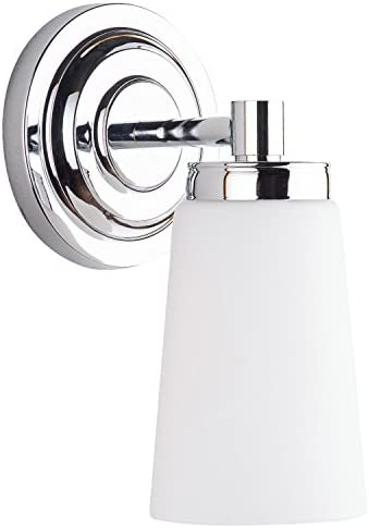 Sheffield 1 Light Bathroom Vanity Chrome w Frosted Glass Linea di Liara LL-WL260-1-PC