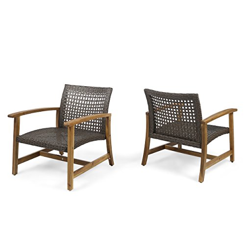 Great Deal Furniture Viola Outdoor Wood and Wicker Club Chairs (Set of 2), Teak Finish and Mixed Mocha ()