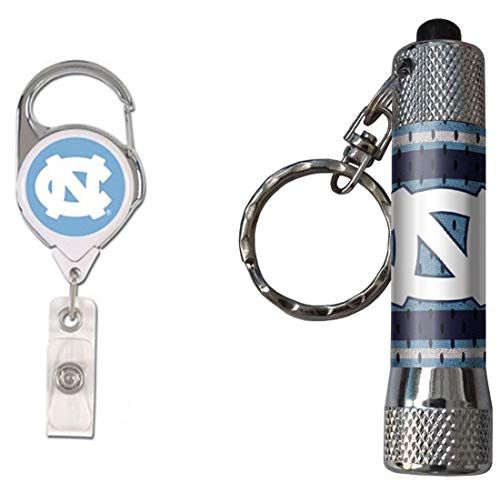 WinCraft Bundle 2 Items: North Carolina Tar Heels UNC Flashlight Keychain and 1 Premium Badge Reel Id Holder by WinCraft (Image #3)