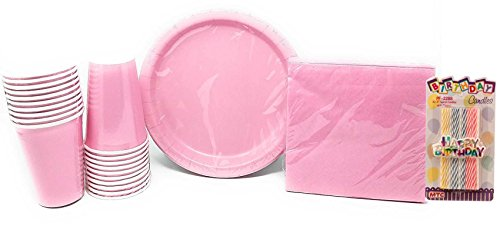 PartyDeiz Party Supplies Bundle for 20 - (20 Heavy Duty Paper Plates, 24 Napkins, 20 Cups) Birthday, Baby shower (Pink)