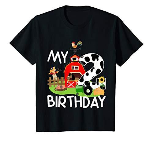 - Kids 2nd Birthday Shirt Farm Tractor Pig Horse Cow Chicken Cat