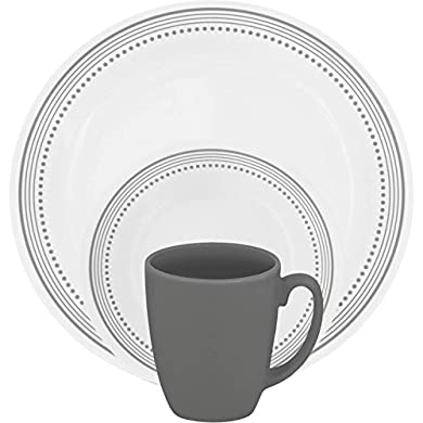 Hoomeet Watercolor 16-Piece Dinnerware Set with Gold Rim Service for 4.