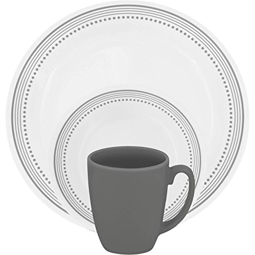 Corelle 16 Piece Pattern of Bands & Dots Livingware Dinnerware Set, Versatile Gray