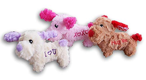 Valentine's Day Miniature Plush Animal Doll Set - 3 Puppy Dogs