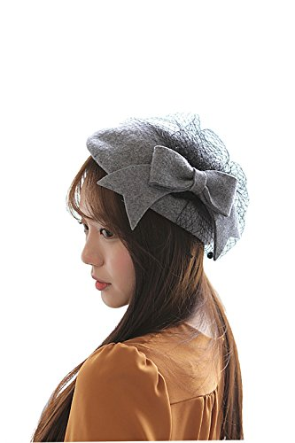 NE Norboe Fascinator Wedding Pillbox Hats Wool Church Hat Bow Veil for Women (Gray) by NE Norboe