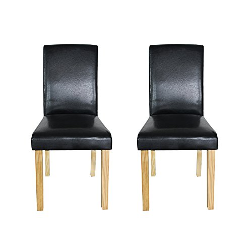 Cheap WV LeisureMaster Set of 2 Black Faux Leather Dining Chairs With Original Solid Wooden Legs and High back For Home&Commercial Restaurants