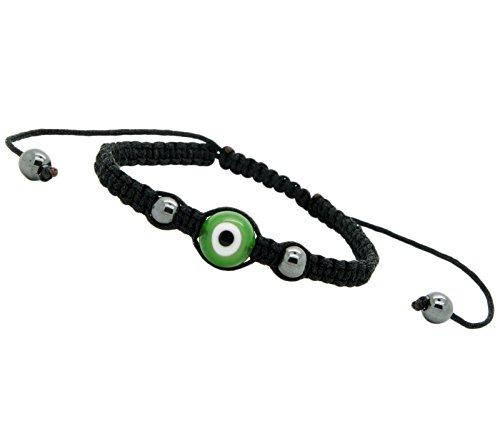 Evil Eye Good Luck Bracelet Glass Green Adjustable Size Nylon Cord