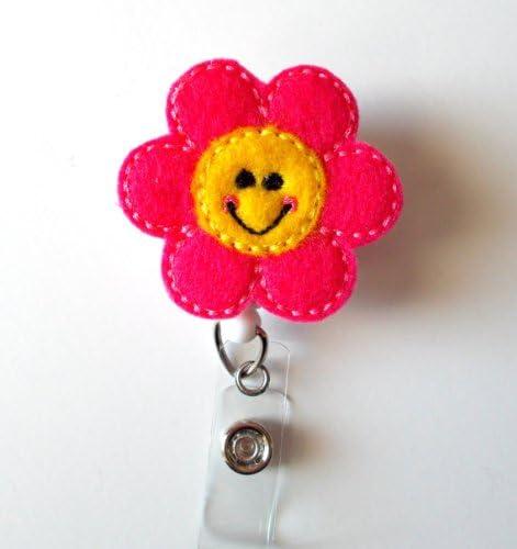 Magnolia Flower Badge Reel Retractable ID Badge Holder Flower ID Reel Mulan Flower Badge Reel Nurse Badge Reel Pediatric Nurse ID Badge