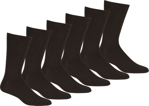 Sakkas Men's Cotton Blend Ribbed Dress Socks, 10-13 - Black 6-pack