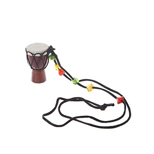 Riashop Wooden Classic Jambe Drummer Mini Djembe Percussion African Hand Drum Bongo Gift For Music Fan (04) ()