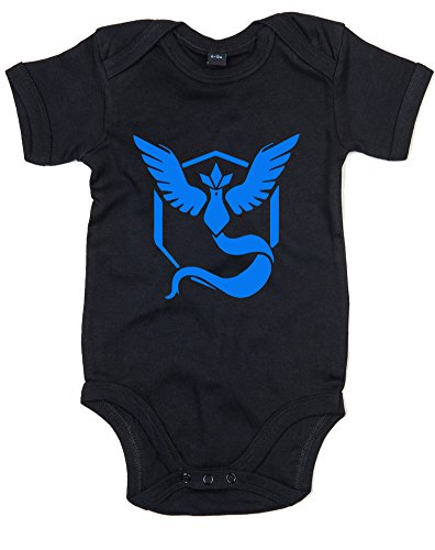 Team Mystic Pokemon Go Badge, Printed Baby Grow - Black/Royal Blue 12-18 Months (Design A Pokemon Trainer)
