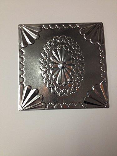 6x6 Decorative Tin Panel Hand Punched Tarnished Shiny Tin