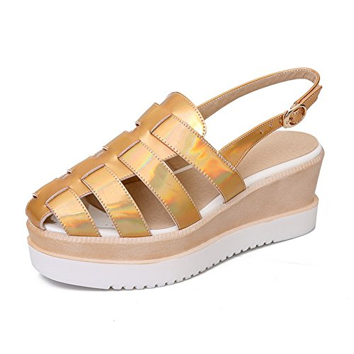 Leather Wrap Sole Rubber (BalaMasa Womens Sandals No-Closure Ankle-Wrap High-Heel Solid Rubber Smooth Leather Split-Sole Gold Urethane Sandals ASL04304-8 B(M) US)