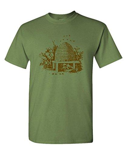 - Vintage BEE HIVE - Beekeeper Honey Queen - Mens Cotton Tee, 2XL, Military