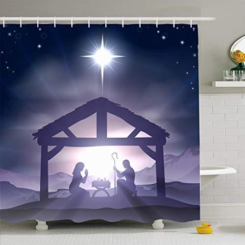 Ahawoso Shower Curtain for Bathroom 60x72 Wise Men Blue Three Manger Kings Christmas Scene Baby Holidays Desert Purple Star Birth Silhouette Waterproof Polyester Fabric Bath Decor Set with Hooks