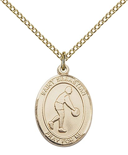 - 14kt Gold Filled St. Sebastian/Basketball Pendant with 18