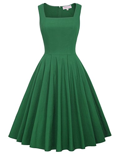 50s Style Vintage Swing Dress A-Line Square Neck Size S Green BP436-3