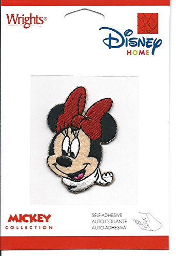 """Wrights Disney Home Mickey Collection Minnie Mouse in White Winter Scarf 1.5"""" x 2"""" Embroidered Patch"""