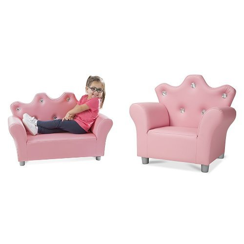 Melissa & Doug Toddler-Sized Kids Pink Faux Leather Furniture - Crown Sofa, Crown Armchair